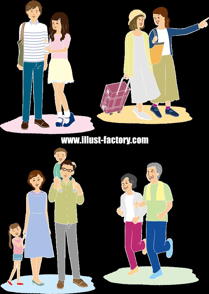 G305-1 カップル・女子旅行・家族・老夫婦ジョギングイラスト