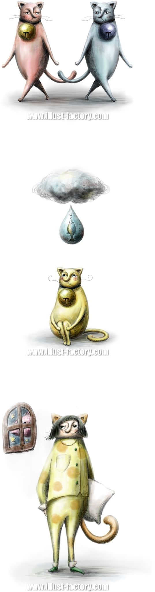 G312 絵本風 手描き猫イラスト制作例