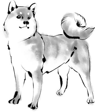 G313-2 水墨画 犬のイラスト