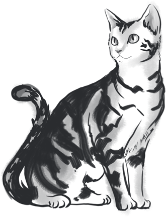 G313-3 水墨画 猫のイラスト