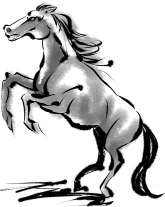 G313-5 水墨画 馬のイラスト