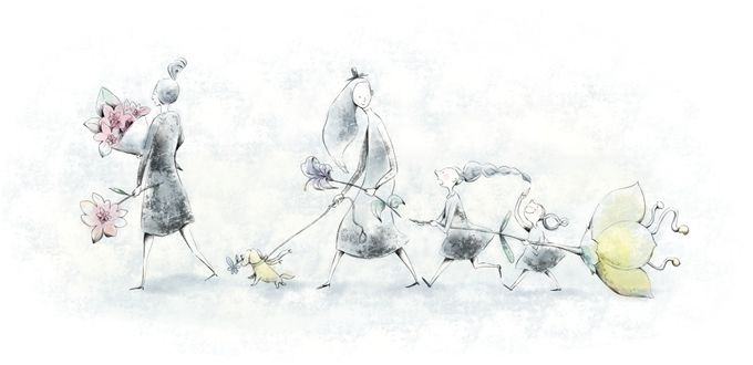 G315 柔らかいペン画 女性と花のイラスト制作例