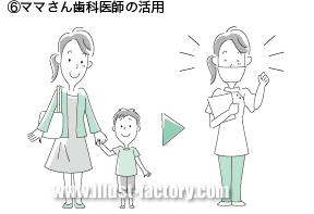 G321-6 ママさん歯科医師の活用のイラスト