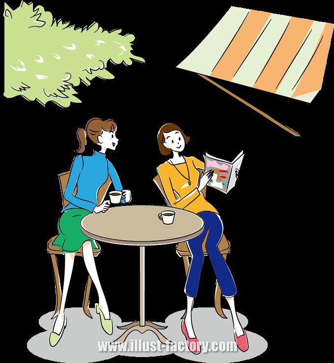 G328 カフェでお茶する女性イラスト制作