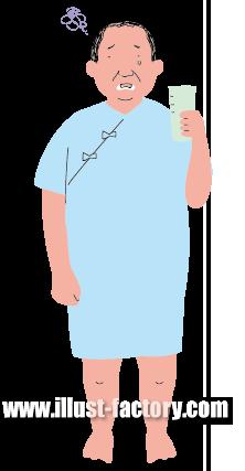G342-4 健康診断・人間ドックバリウムを飲む男性イラスト