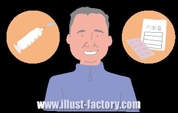 G342-7 治療方法と中年男性のイラスト