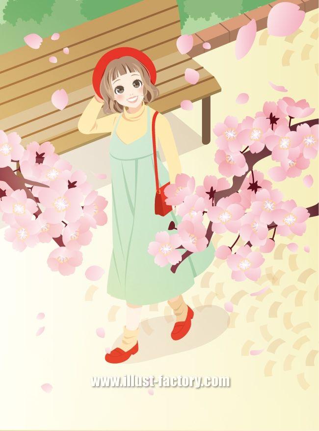 G356 桜と女性イラスト制作