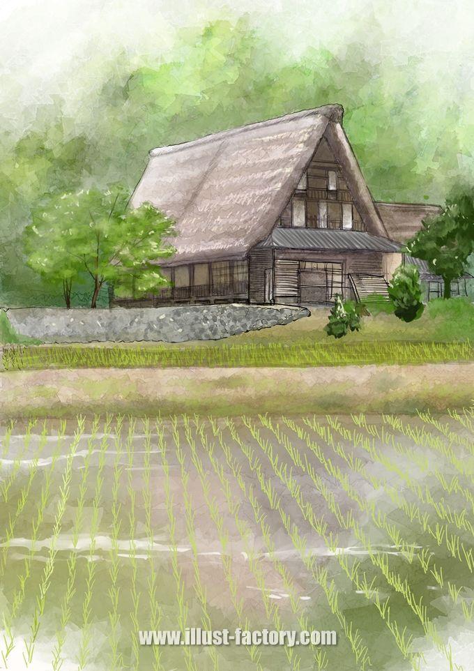 G359 写真を元にした水彩画タッチの風景イラスト制作(古民家と田園風景)