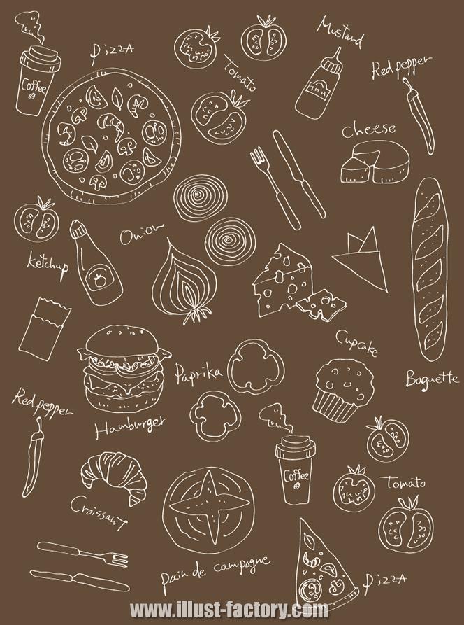 G365-2 食品関連の線画風、エッチング風イラスト制作