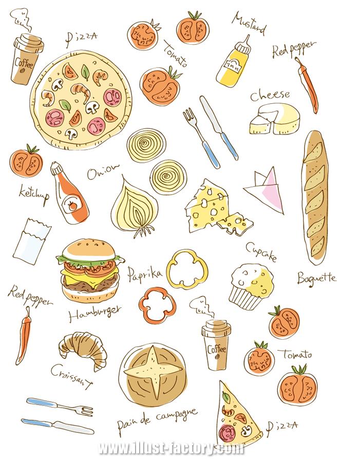 G365-1 食品関連の線画風、エッチング風イラスト制作