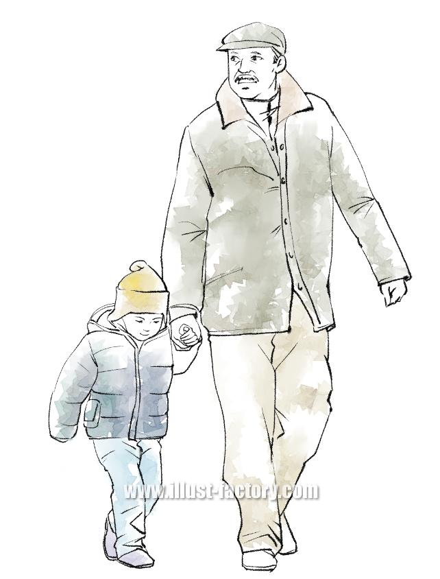 G368-1 老人と子供イラスト制作