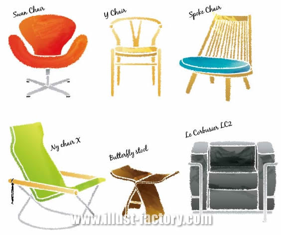G382 世界の名作椅子 手描きタッチイラスト制作