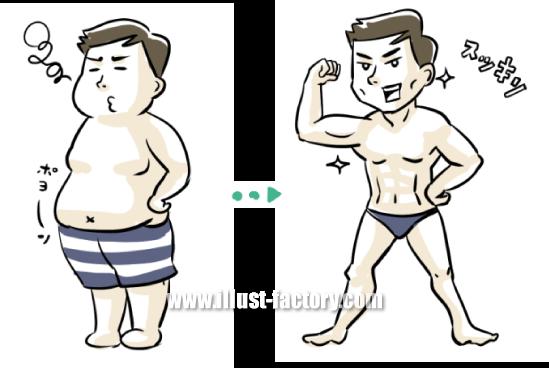 G391-02 肥満からの肉体改造に成功した男性のイラスト