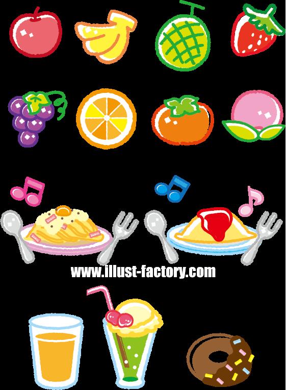 G395 クレヨン風食べ物イラスト制作