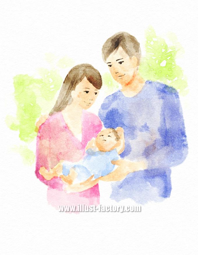 G401-01 手描き水彩イラスト 赤ちゃんと夫婦