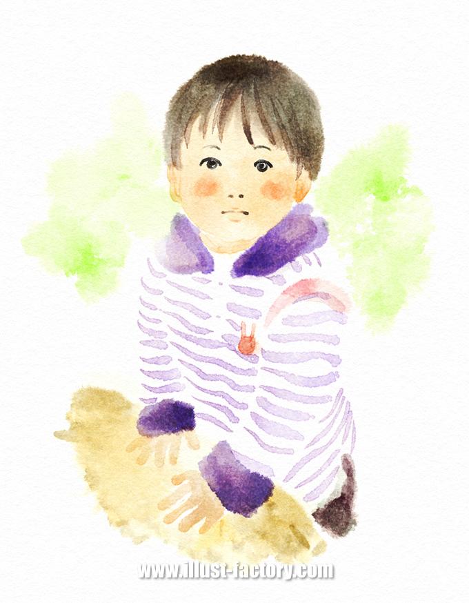 G401-02 手描き水彩イラスト 子供(幼児)