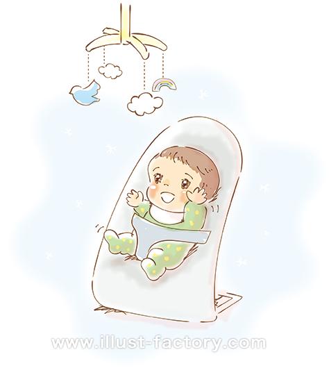 G415-02 水彩画風赤ちゃんイラスト