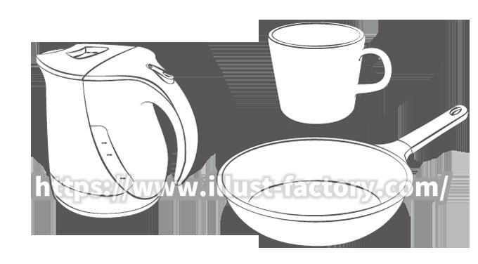 G424-02 日用品のイラスト制作 フライパン マグカップ 電気ケトル