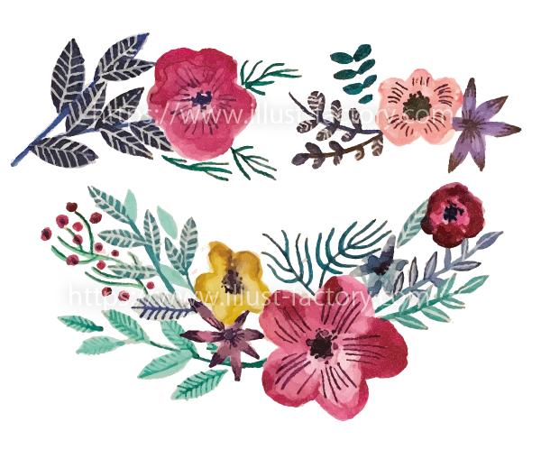 G429-03 華やかな花のイラスト制作