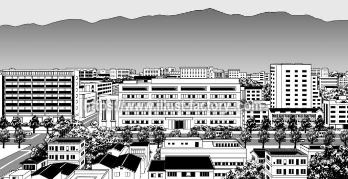 G431 漫画背景風タッチ郊外の景色のイラスト制作