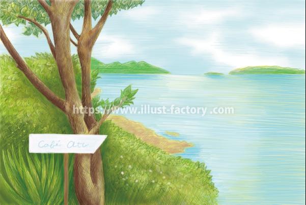 G434 色鉛筆タッチの湖畔の風景イラスト制作