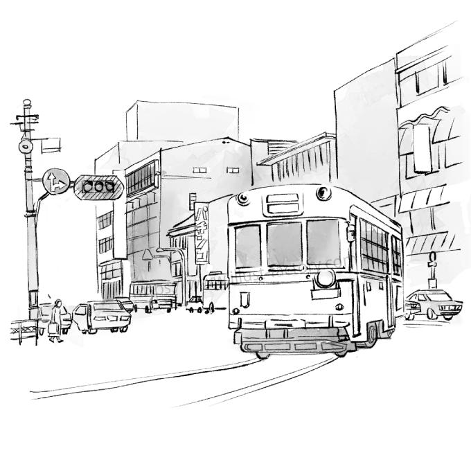G440-1 水彩風のイラスト制作 懐かしの昭和の風景、路面電車の走る町の様子