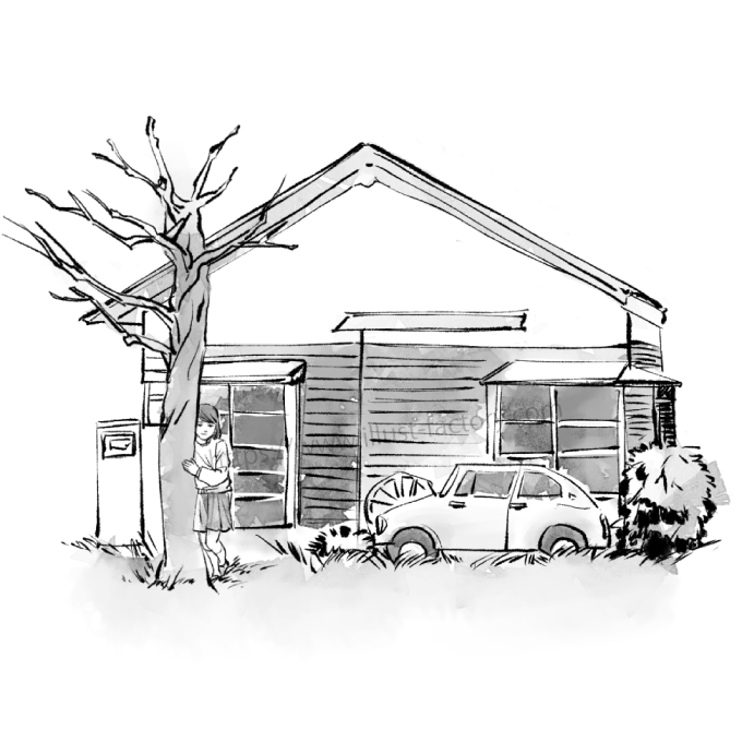 G440-2 水彩風のイラスト制作 記憶の中の古い家と初恋の子の居る風景