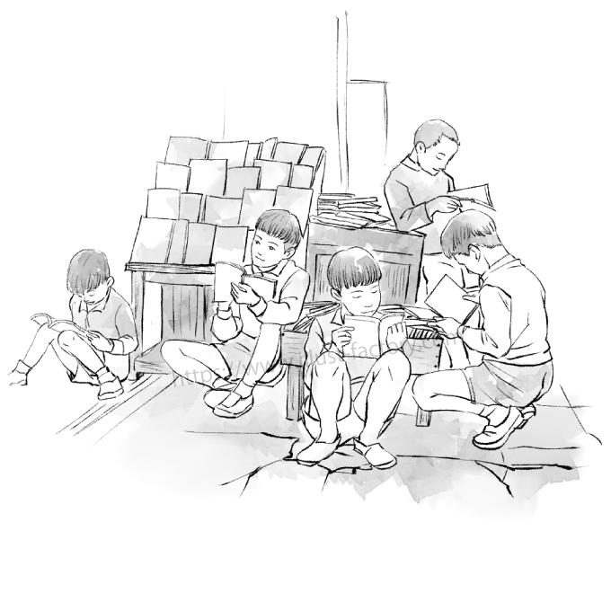 G440-3 水彩風のイラスト制作 本屋の店先で立ち読みをする子供たち