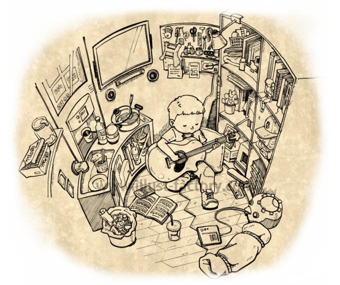 G449-1 ペン画挿絵のイラスト制作(部屋でギターを弾く少年)