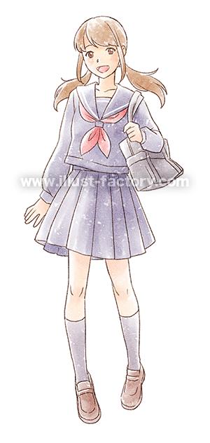 G450-2 手描き水彩風女子高生のイラスト制作