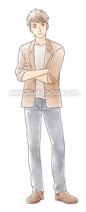G450-3 手描き水彩風男性のイラスト制作