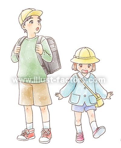 G450-4 手描き水彩風人物の児童イラスト制作