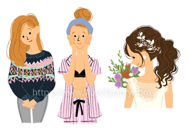 G451-2 手書き風季節の女性の様々なシーンイラスト制作