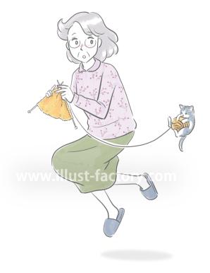G453-2 手書き風人物年配女性のイラスト制作