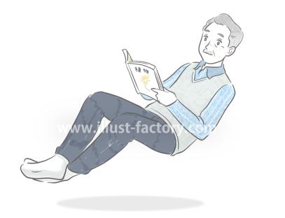 G453-3 手書き風人物の年配男性イラスト制作