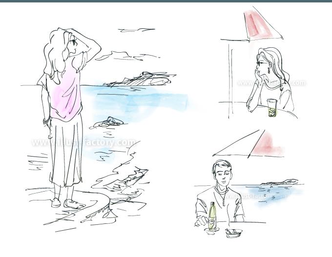 G455-2 ドローイングの女性・男性・海の風景イラスト制作