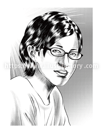 G462-1 劇画風モノクロメガネの女性似顔絵