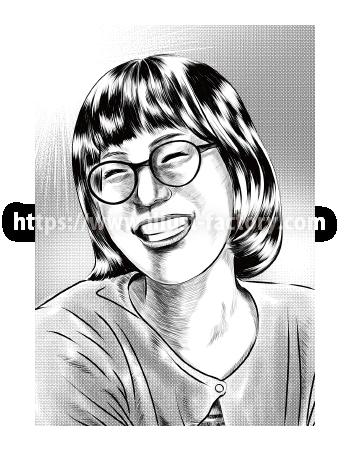 G462-3 劇画風メガネの女性モノクロ似顔絵