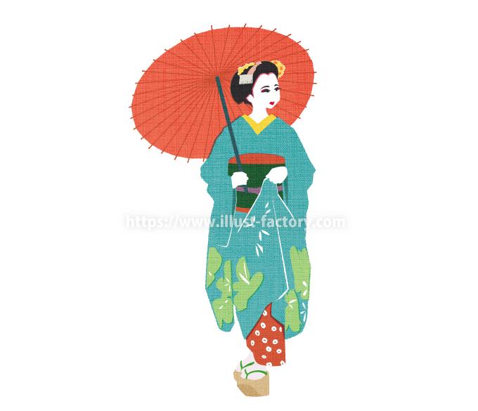 G477-1 伝統文化のイラスト(舞妓さん)