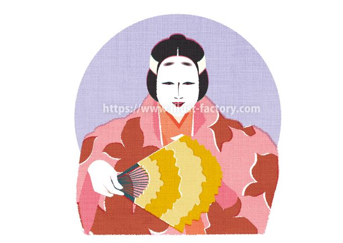 G477-3 伝統文化のイラスト(能・狂言)