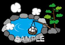 G47-08 温泉と温泉卵のイラスト