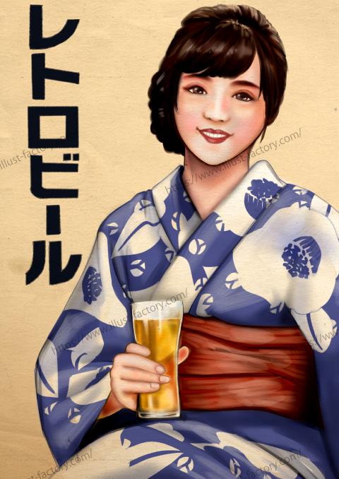 G483 レトロ風人物イラスト