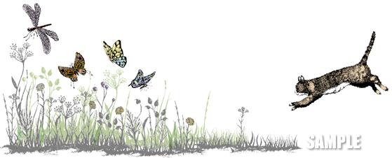 G49-09 手描き ネコと蝶のイラスト