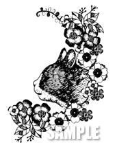 G49-06 手描き ネコと花のイラスト