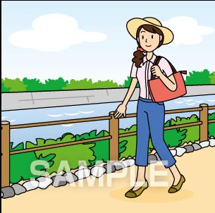 G50-02 川辺を歩くイラスト