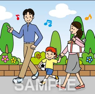 G50-03 家族で散歩するイラスト