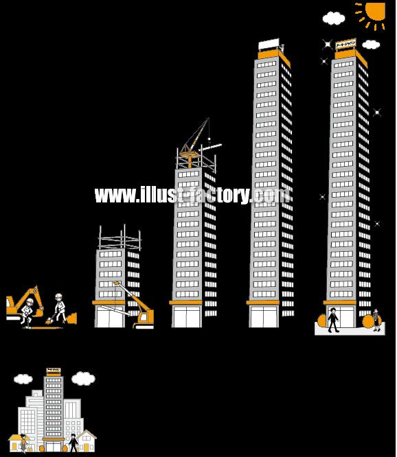 G51-30 社屋ビルが成長するイラスト