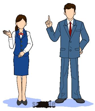 G55-02 受付女性・ビジネスマン