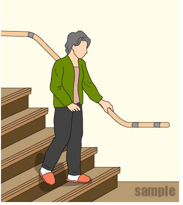 G55-05 手すりを使い階段を降りる高齢者