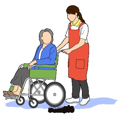 G55-07 車椅子の女性を押す介護スタッフ